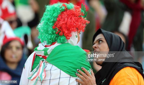 Female football fans show their support ahead of the FIFA World Cup Qualifier match between Iran and Cambodia at Azadi Stadium on October 10, 2019 in...
