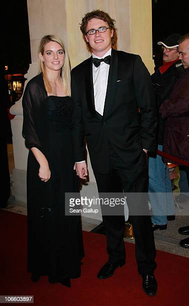 Female football pro Nia Kuenzer and her husband Felix Groh attend the Sportpresseball 2010 at the Alte Oper on November 6 2010 in Frankfurt am Main...