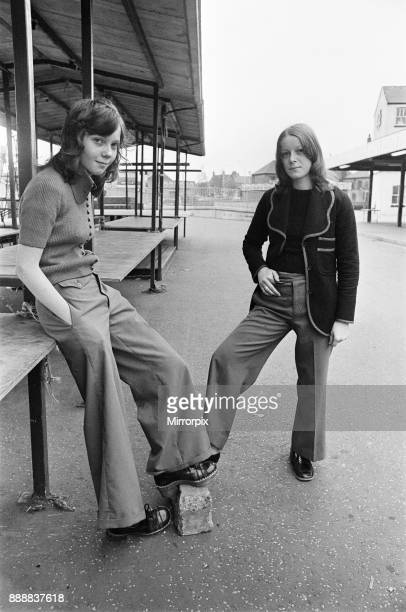 Female football supporters from Salford on their way to a match 24th August 1972