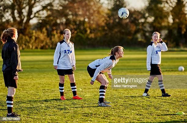Female football team training