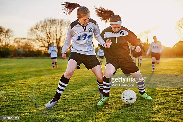 female footballers tackling - leanincollection stock pictures, royalty-free photos & images