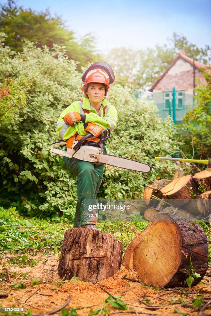 female forestry worker : Stock Photo