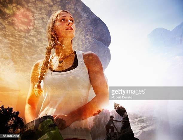 Female free climber preparing to climb