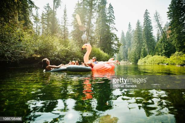 female friends floating down river on inner tubes and pink flamingo on summer afternoon - inflatable ring stock pictures, royalty-free photos & images