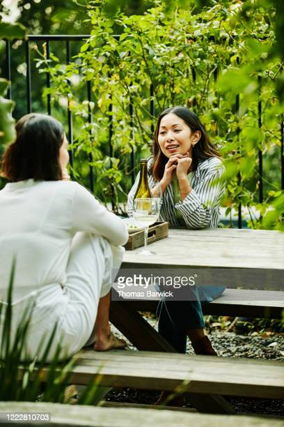female friends in discussion while sharing food and wine at table in backyard - printed sleeve stock pictures, royalty-free photos & images