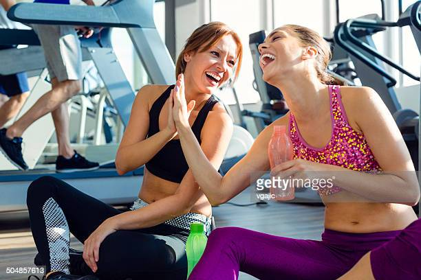 Female friends in the gym.