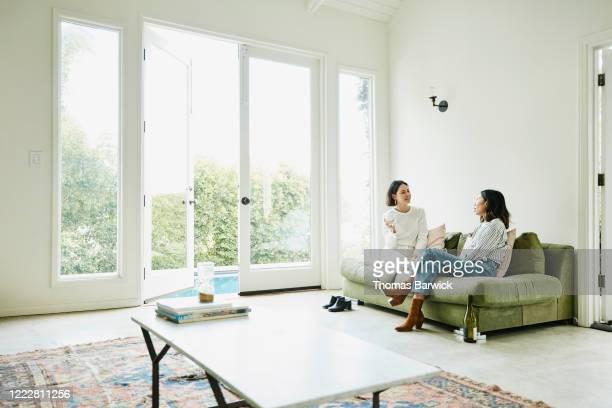 female friends relaxing in living room drinking wine - amicizia tra donne foto e immagini stock
