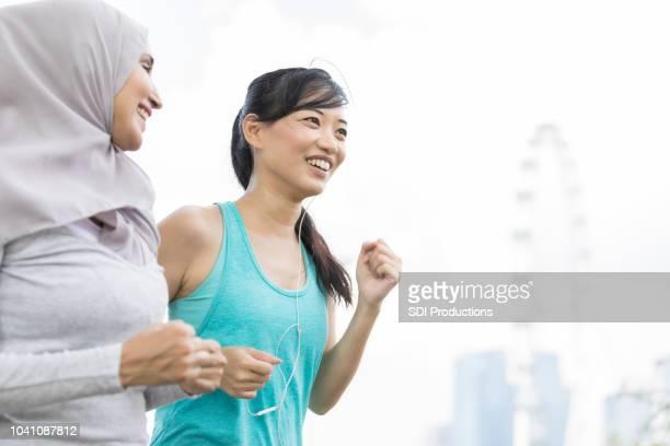 Female friends walk together