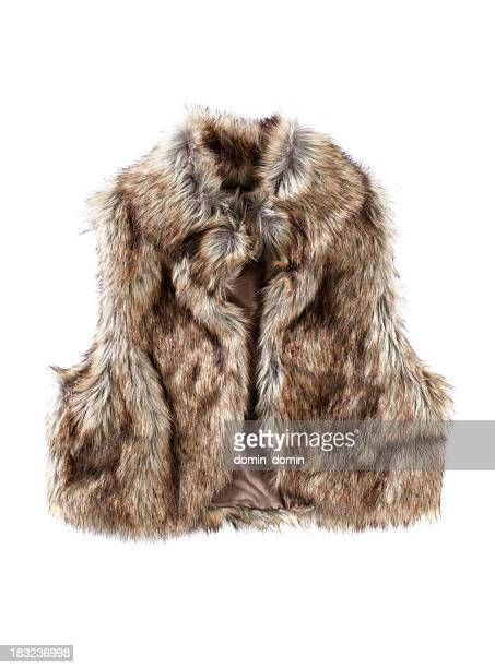 Female Fur vest isolated on white