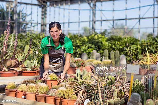 Female gardener working in green house