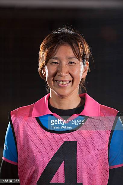 Female goalkeeper in a practice uniform