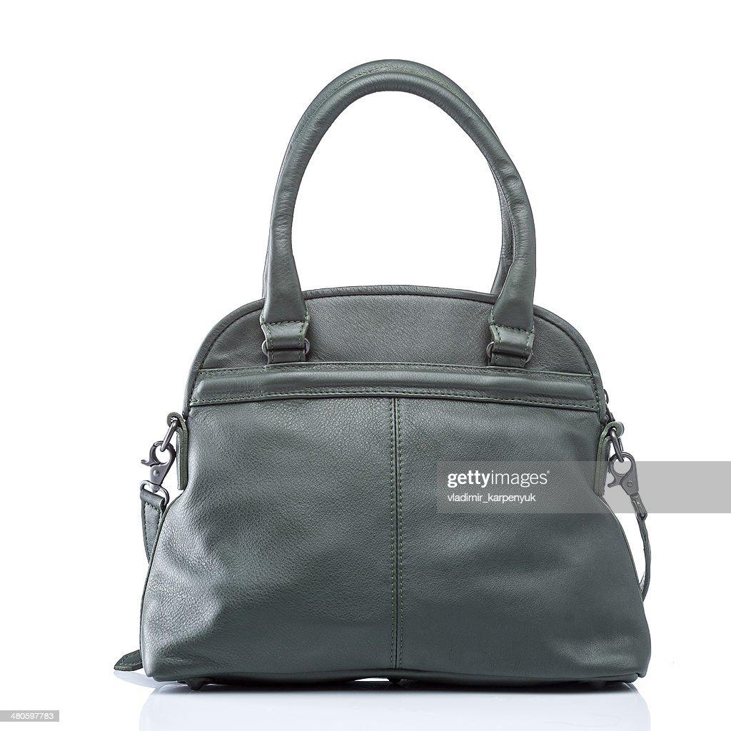 female green leather handbag : Stock Photo