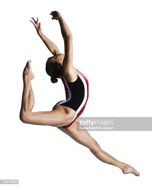 Female gymnast doing floor exercises