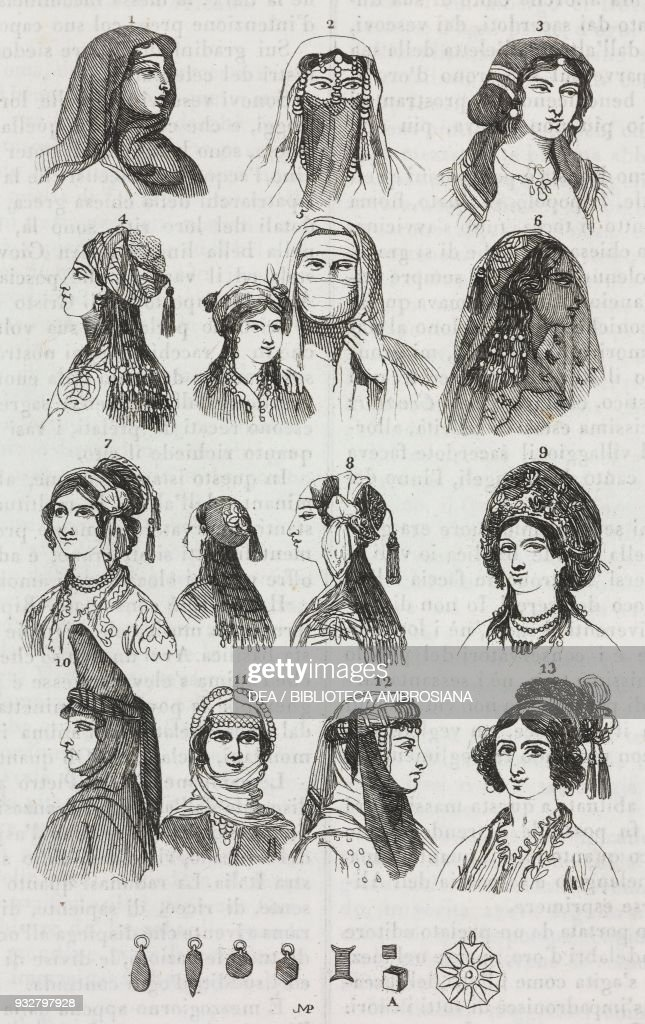 Female hairstyles and headwear worn in Egypt, Turkey and Asia Minor