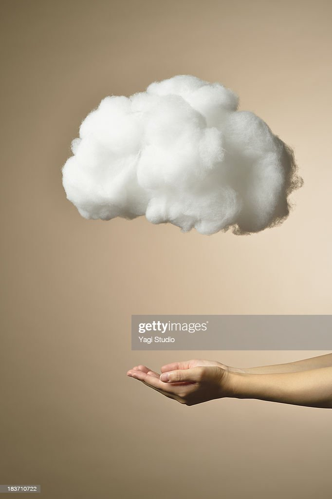 Female hand and cloud network : Stock Photo