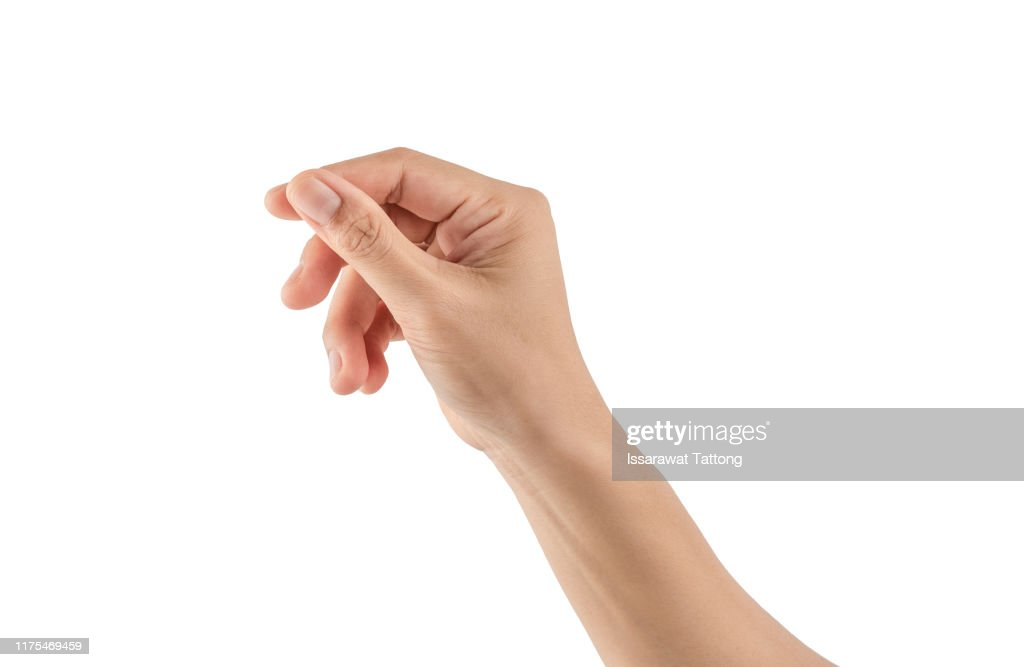 Female hand holding a virtual card with your fingers on a white background : Foto de stock