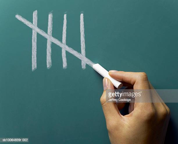 Female hand making fifth tally mark on blackboard, close-up