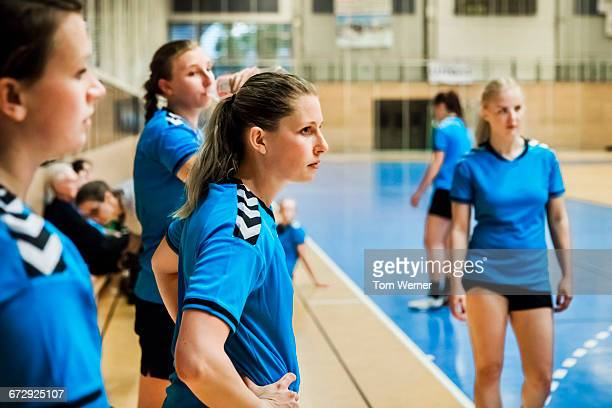 Female handball players during training session