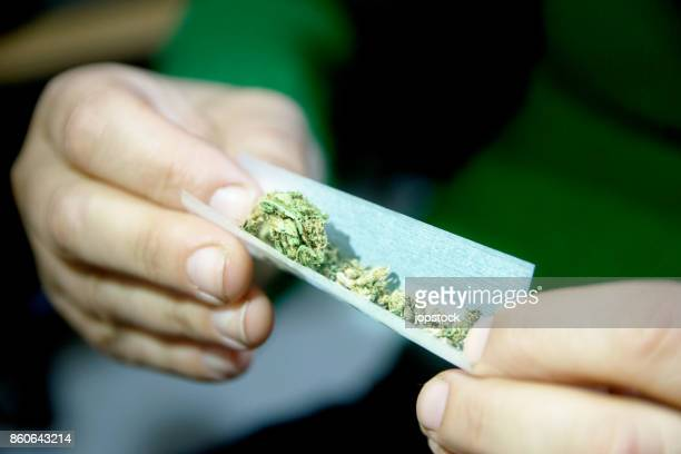 female hands rolling a marijuana joint - femme qui fume photos et images de collection