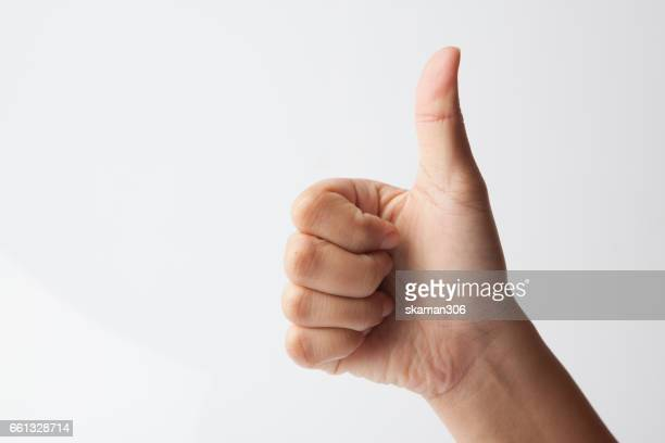 Female hands show like or good  sign success and nice