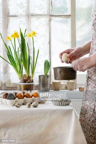 Female hands with Easter egg