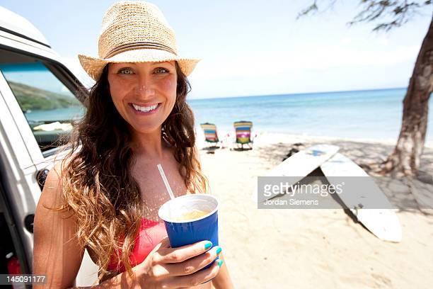 Female having a fun day at the beach.
