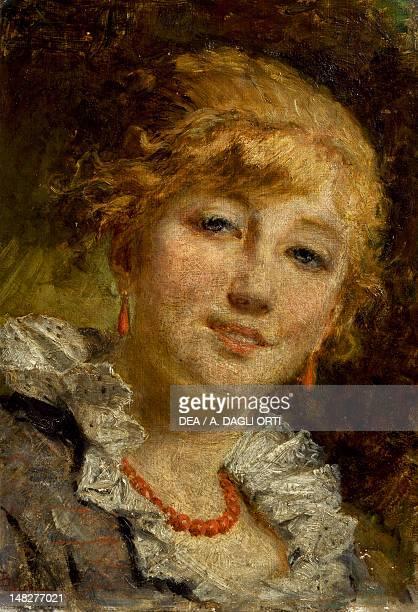 Female head by Bartolomeo Giuliano oil on canvas 22x30 cm Milano Quadreria Dell'Ospedale Maggiore