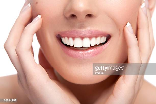 female healthy white toothy smile - skin diamond stock pictures, royalty-free photos & images