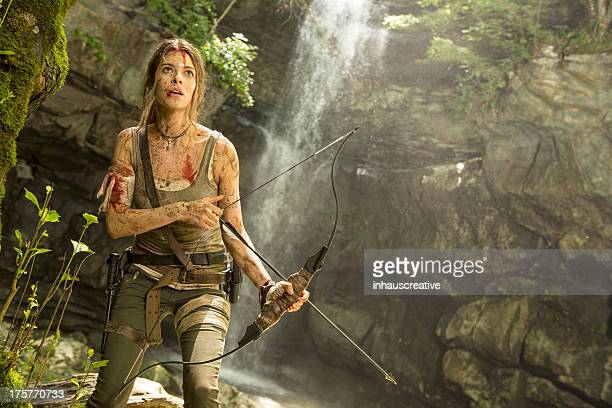 Female Heroine in the Jungle Hunting with Bow and Arrow