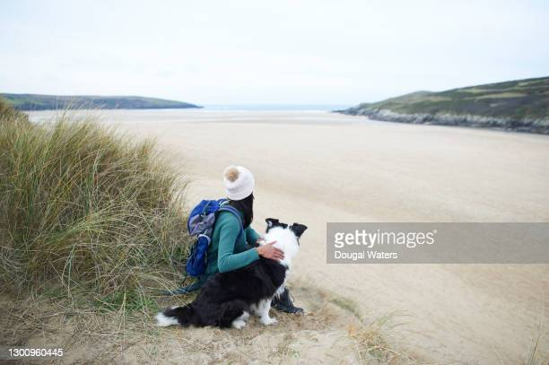 female hiker and dog sitting at beach looking out to sea. - dougal waters stock pictures, royalty-free photos & images