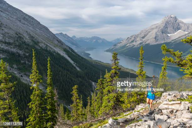 female hiker ascends mountain ridge above valley - kananaskis country stock pictures, royalty-free photos & images