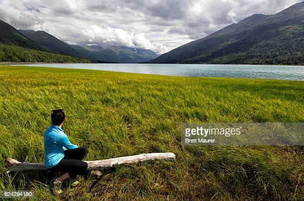 Female Hiker at Eklutna Lake, Alaska, USA