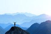 Female Hiker Celebrating Success