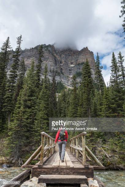 Female hiker discovers view from mountain bridge, Canadian Rockies