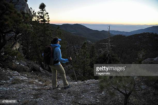 female hiker looking at morning view, mount charleston, nevada, usa - mt charleston stock photos and pictures
