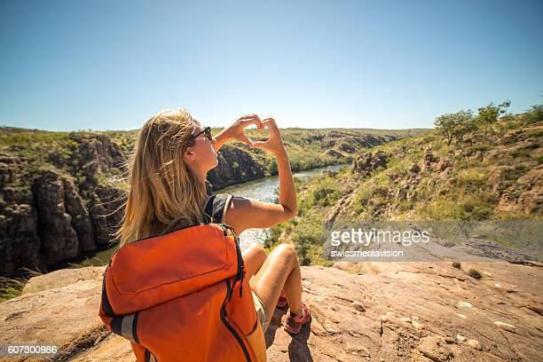 Female hiker loves nature