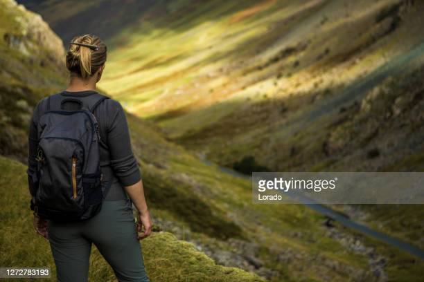 female hiker on a staycation in the hills of northern england - 40 44 years stock pictures, royalty-free photos & images