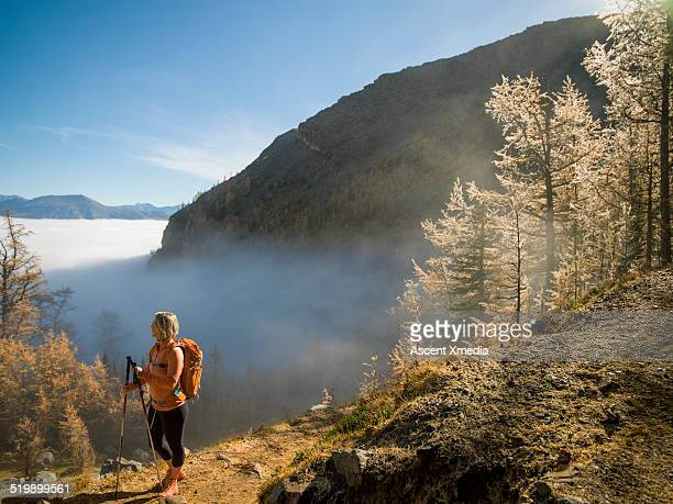 Female hiker pauses at mountain overlook,looks off