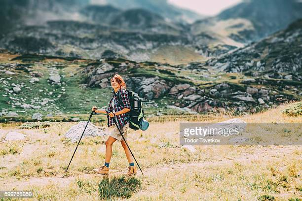 female hiker - hiking pole stock pictures, royalty-free photos & images