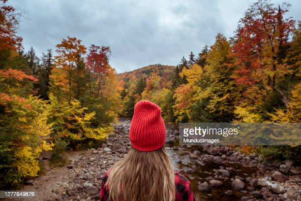 female hiker surrounded by beautiful fall colors - state park stock pictures, royalty-free photos & images