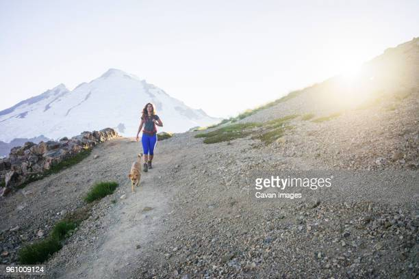 female hiker with dog walking on mountain against clear sky during sunny day - americas next top dog stock pictures, royalty-free photos & images