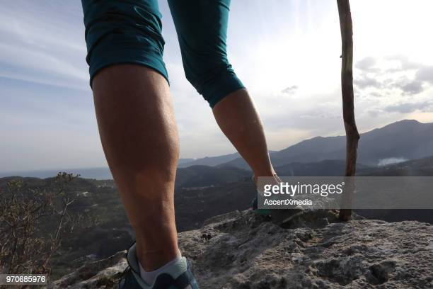 Female hikers legs and walking stick on summit above mountains