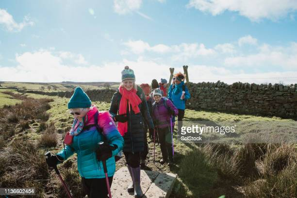 female hiking club - organised group stock pictures, royalty-free photos & images