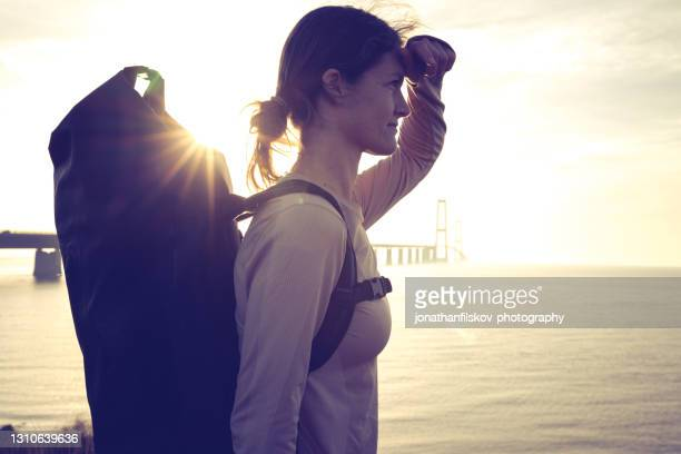 female hiking in denmark - scandinavian ethnicity stock pictures, royalty-free photos & images