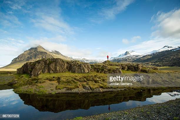A female hiking in Iceland.