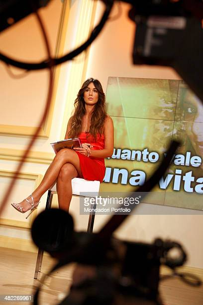Female host Silvia Toffanin during a photo shoot about the backstage of Verissimo on September 26th 2008 at Mediaset Studios Cologno Monzese Italy