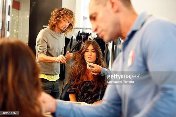 Female host Silvia Toffanin during the makeup for a photo shoot about the backstage of Verissimo on September 26th 2008 at Mediaset Studios Cologno...