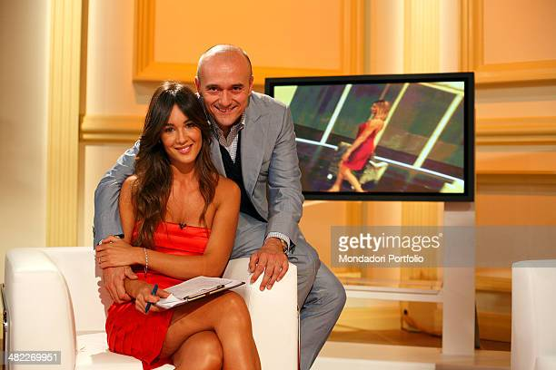 Female host Silvia Toffanin with journalist Alfonso Signorini during a photo shoot about the backstage of Verissimo on September 26th 2008 at...
