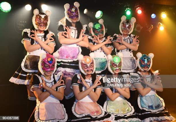 Female idol group Kasotsuka Shojo produced by Japanese idol agency Cinderella Academy pose during their live stage show in Tokyo on January 12 2018...