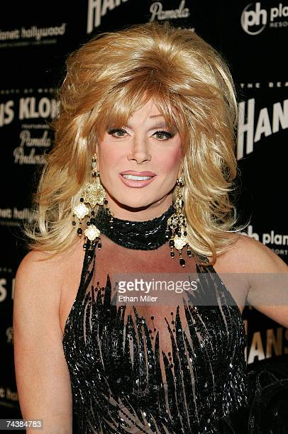Female impersonator Frank Marino arrives at the opening night performance of magician Hans Klok's show The Beauty of Magic at the Planet Hollywood...